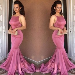 Barato Gorgeous Espaguete Strap Vestidos Formais-Gorgeous Spaghetti Straps Sexy Mermaid Prom Dresses 2018 Sleeveless Formal Dresses Evening Wear Sweep Train Cheap Girls Party Gowns