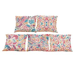 $enCountryForm.capitalKeyWord UK - Creative Floral Pattern Linen Cushion Cover Home Office Sofa Square Pillow Case Decorative Cushion Covers Pillowcases Without Insert(18*18)
