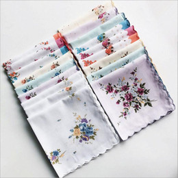 Wholesale Floral Cutters Australia - 100% Cotton Handkerchief Cutter Ladies Handkerchief Craft Vintage Hanky Floral Wedding Party Handkerchief Support 30*30cm Random Color