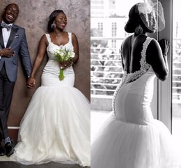 Robes Longues Et Longues En Dentelle Blanche Pas Cher-2017 Cheap Sexy African Vintage Mermaid Robes de mariée en dentelle blanche Robes de mariée Long Trompette Country Spaghetti Straps Backless Wedding Dress