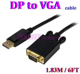 100 unids / lote * Thunderbolt DP a vga Display Port DisplayPort DP Macho a VGA Macho Convertidor Cable Adaptador PC Portátil 6FT / 1.8M