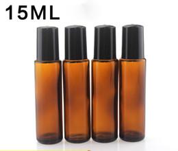 Roller Perfume Bottles 15ml UK - DHL Free 15ml Amber Glass E Liquid Essential Oil Bottles with Black Screw Cap With Metal SS Roller Glass Roller Ball For Perfume