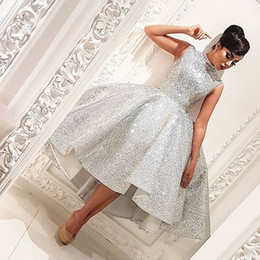 Robes De Bal À Col Court Pas Cher-Sexy Silver High Collar sans manches Bling Bling Short Front Long Back 2017 Cheap Prom Dresses Vestidos