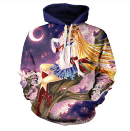 China 2017 New Fashion Sailor Moon Roses Print Hooded Sweatshirt Men Women Long Sleeve Outerwear Pullovers 3D Hoodies LMS0123 suppliers