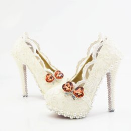 $enCountryForm.capitalKeyWord UK - Wholesale Lace Pearls Sexy Prom Evening Shoes Cinderella Shoes Hand-made Bridal Bridesmaid Shoes Nigh club Party High Heels with Flower 259