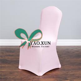 Couverture de chaise de Spandex de couleur rose bon marché avant plat pour le mariage en Solde