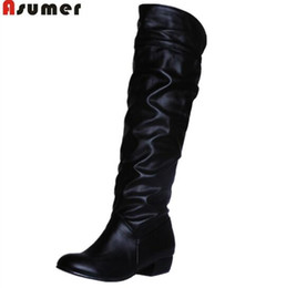 83dd808d97061 fashion hot sale new arrive women boots black white brown low heel knee  boots slip on autumn winter ladies high boots free shipping