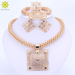 African Dubai 18k Gold Plated Set Australia - Fashion Jewelry Sets Big Square Pendant Necklace Earrings Bracelet Ring Dubai Gold Plated African Costume Jewelry Sets For Women