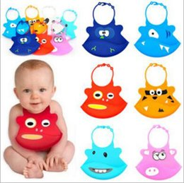Discount waterproof silicone baby bibs - SILICONE Baby Bibs Infant Easy Washable Crumb Food Catcher Roll Infant Feeding Kid Bibs Funny Waterproof Design G332