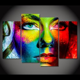 Painting Faces Australia - HD Printed Canvas Prints Color Face Makeup Painting Art 4 Pcs Poster Room Decor Wall Picture for Living Room Free shipping XA392D