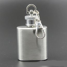 Key Chain Drink Canada - Flagon Flask 1oz Russian Stainless Steel Hip Flask Portable Mini Alcohol Whiskey Wine Drink Bottle Pocket Liquor Drinkware Key Chain