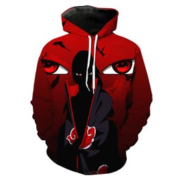 Chinese  Wholesale- Men Cool Anime Naruto 3D Printing Hooded Hoodies Hipster Fashion Long Sleeve Street Style Sweatshirts Spring Pocket Pullover manufacturers