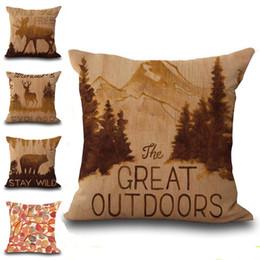 4214f31d78fb Wild Animal Deer Goat Bear Throw Pillow Cases Cushion Cover Pillowcase  Linen Cotton Square Pillow Case Pillowslip Home Decor 240529