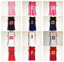 Nom Sexy Pas Cher-Femmes 23 Lebron James Basketball Dress Jupe Jerseys Lady 2 Kyrie Irving Bleu Blanc Rose Rouge Robes sexy avec le nom du joueur Sport Shirt