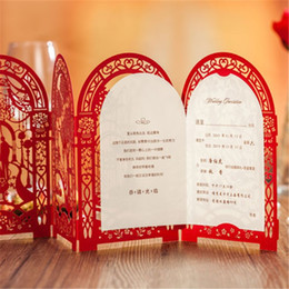 Invitation Blank Card NZ - Wholesale- Wedding Invitation Card Romantic Party Red White Delicate Carved Pattern with Envelope Blank Sheet Wedding Decoration Supplies