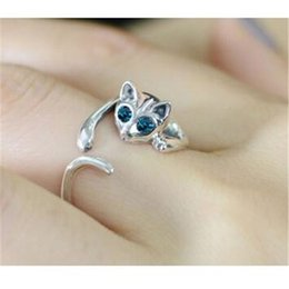 70e2fda44 New Gold Silver Plated Cute Cat Ring Different Color Crystal Cat Eyes Open  Rings for Women Hot Design Best Girls Gift Jewelry