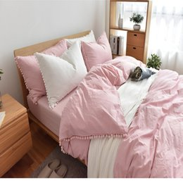 Solid Pillowcases Canada - Ins Rinka Venonat Washed Cotton Solid Bedding Sets Brife Duvet Cover+Bed Sheet+Pillowcases Home Bedding Twin Full Queen King Size