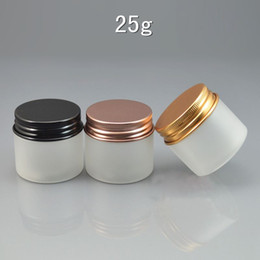 $enCountryForm.capitalKeyWord NZ - 50pcs lot 25ml Frosted Plastic Cosmetic Jar Serum Bottle Aluminum Cap 25cc DIY Refillable Hand Cream Case
