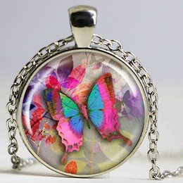 Animal Handmade Canada - new butterfly pendant necklace sheer pink neckless charms art butterfly jewelry vintage animal insect jewelry handmade jewellery