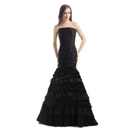 Taffeta Wrap Jacket UK - New Collection Off the Shoulder Black Prom Dress Mermaid Ladies Elegant Special Occasion Dress Tiered Layers