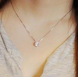 Single diamond pendant necklace canada best selling single wholesale s925 silver exquisite zircon single diamond short necklace sxl052 aloadofball Image collections