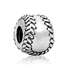 $enCountryForm.capitalKeyWord UK - Fits Pandora Charm Bracelet Baseball Beads Silve 925 Big Hole Loose Charms For Diy European Style Snake Chain Bangle Necklace Women Jewelry