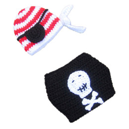 winter beanies UK - Super Cool Baby Pirate Costume,Handmade Knit Crochet Baby Boy Girl Pirate Beanie Hat Diaper Cover Set,Newborn Infant Halloween Photo Prop