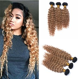 Discount new roots hair extensions New 3 Pcs 9A Ombre Brazilian Hair Deep Wave Strawberry Blonde Hair Weave Honey Blonde Dark Root Ombre Hair Extensions 3