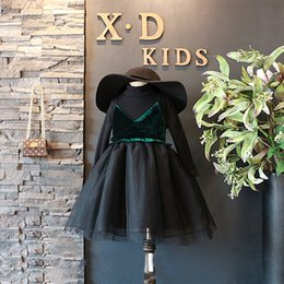 Robes De Velours Bébé Pas Cher-Everweekend Kids Girls Nouvelle mode Princesse occidentale Princesse Tutu Robe bébé Velvet Sweet Girls Black Color Dress Clothing