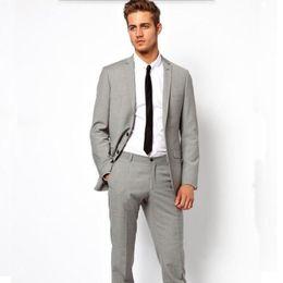 $enCountryForm.capitalKeyWord Canada - New design men suits Custom Made Light Grey wedding Suits Tuxedo handsome Groom Suits Formal Business Suits(jacket+pants)