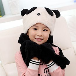 Gants D'écharpe Pour Garçons Pas Cher-Vente en gros- Mode Lovely Girls Winter Neck Warm Thicken Panda Hat Echarpes Gants Three-Piece Wraps ajustés Boys Best Love ChristmasBandana