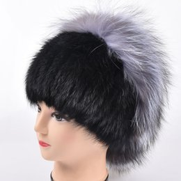 $enCountryForm.capitalKeyWord Canada - Winter women real fur hat with silver fox fur flower knitted beanie new sale high-end women fur cap