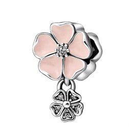 Authentic Flowers Australia - Poetic Blooms Charms Bead Authentic 925 Sterling-Silver-Jewelry Crystal Pink Enamel Flower Bead For DIY Brand Bracelets Making Accessories