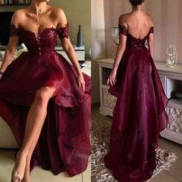 Robe De Bal Courte Bourgogne Pas Cher-Bourgogne populaire Haute Robe de soirée basse Appliques de dentelle à l'épaule Sweetheart Short Front Long Back Formal Party Gowns