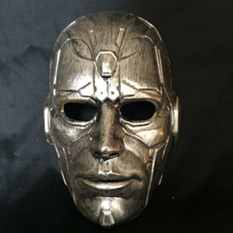 Discount vintage cat mask Retro Vintage Stone Man Full Head Mask Halloween Masquerade Costume Mask Cosplay 2 Colour (Gold and SIlver) One Size Fit