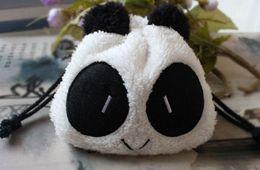 Wholesale Wrist Zipper Wallet Australia - Wholesale- Kawaii 20CM Approx. Plush Panda String Control Wrist Coin BAG Key Wallet Pouch ; Hand BAG Pouch Wallet