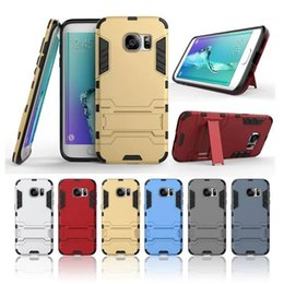 SamSung S7 iron man online shopping - 3D Iron Man Armor Hard Case Shockproof Cover for Samsung Galaxy S5 S6 S6 Edge S7 S7 Edge Dual Layer PC TPU Hybrid Stand Cover