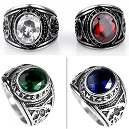 $enCountryForm.capitalKeyWord NZ - 7-13 Five Stone Color Rings United States Army Ring With Precious Big Stones 316L Stainless Steel US Gun Rings for Men