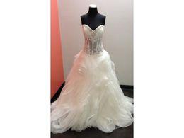$enCountryForm.capitalKeyWord UK - Real Photos Bridal Ball Gown Sweetheart Dropped Waist Beaded Neckline Ruffles Skirt Lace Bodice Organza Wedding Dress Vestido De