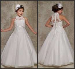 8270e37424b A Line Party First Communion Dresses Cheap Sleeveless High Neck Appliques  ELegant Covered Botton Floor Length High Quality Formal Wear