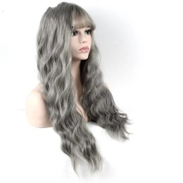 Thinning hair bangs online shopping - Hair Ultra thin bangs Long Curly Wig Kinky Curly Synthetic Wigs Matte gray inch High Temperature Fiber women wig