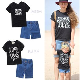 Sets Jeans Canada - Family Mother Daughter Matching Parent-child Clothes Mom Child Kids Wear Cotton Black Short Shirts Tees Jeans Shorts Clothes Outfits Sets