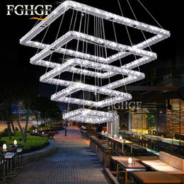 Square Kitchen Designs Australia - new design LED crystal chandeliers 5 squares lustres lamp dinning room living room chandelier LED light Lustres de cristal Fast Shipping