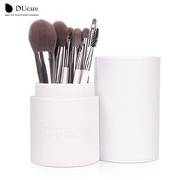 new cylinder Canada - Wholesale-New Arrival Makeup Brushes professional Cosmetics brush Set 8pcs High Quality top Synthetic Hair With White Cylinder brush set