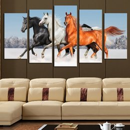 5pcs Set Unframed Running Horses Canvas Paintings Aniaml Wall Decor Giclee Art For Living Room Home Office DecorationSize2 Sizes