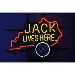 Chinese  Fashion New Handcraft Jack Lives Here Kentucky Real Glass Beer Bar Pub Display neon sign 19x15!!!Best Offer! manufacturers