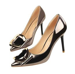 Rubber Coating Cover UK - Hot sale style elegant heel shoes with high heels,shallow mouth pointed Coat of paint metal The letter Belt buckle Women's shoes, high heels