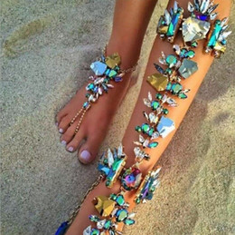 Bijoux De Mariage Sexy Pas Cher-Boho Foot Jewelry Sexy Leg Chain Bracelets à cheville Sandales Beach Summer Luxury Wedding Crystal Anklets YT