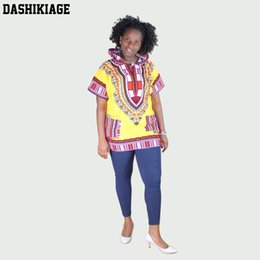 Chemisiers Jaunes Pas Cher-Dashikiage Femmes Jaune Rouge Africain Dashiki Hoodie T-shirt Boho Hippie Caftan Festive Tribal Gypsy Ethnique Haut Traditionnel Blouse