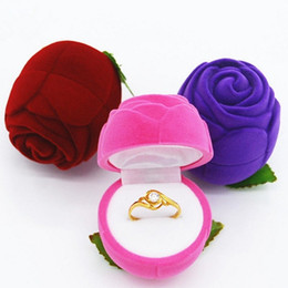 Special Day Gifts Canada - Upscale Wedding Ring Box Soft Velvet Rose Jewelry Case for Special Occasion Valentine's Day Gift Packing 4 Colors